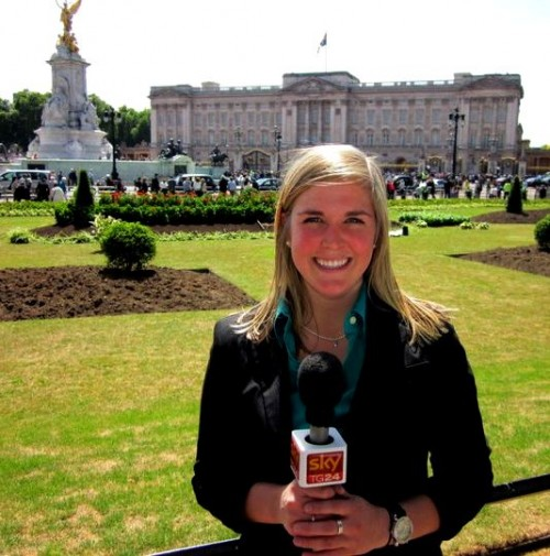 Broadcasting at Buckingham Palace. TSM.