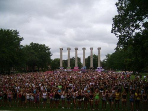 Bid Day on the quad. TSM.