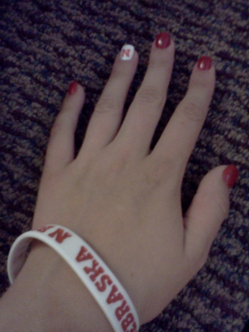 Gameday ready, all the way down to my fingers. TSM. GO BIG RED!