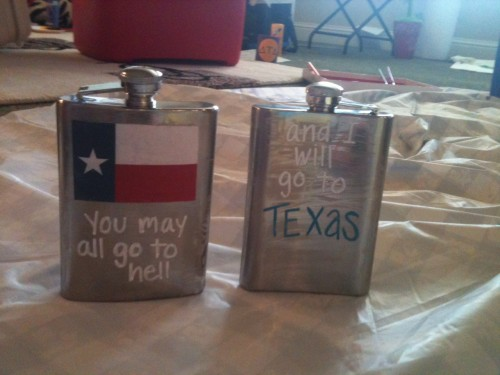 Mod Podged flasks for my little and me. TSM.