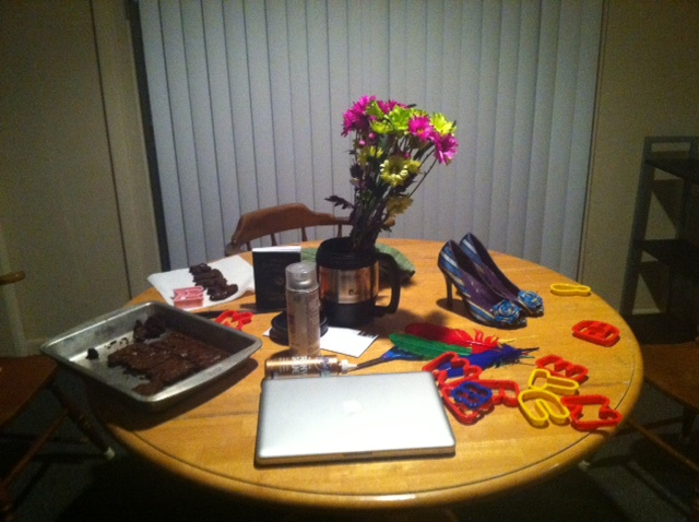 Not using your kitchen table to eat because it's been overtaken by crafts and baking. TSM.