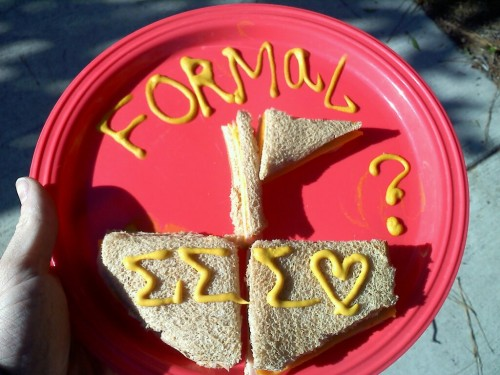 Asking him to formal with a sandwich. TSM.