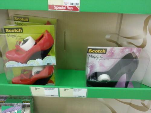 High-heeled tape dispensers. TSM.