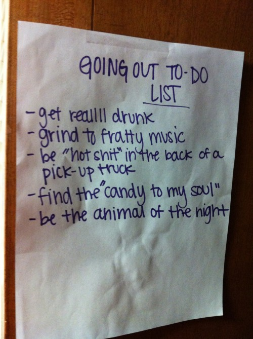 Going Out To Do List. TSM.