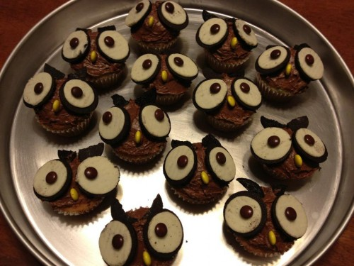 Baking owl cupcakes because it's my favorite fraternity's mascot. TSM.