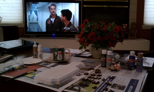 Hot cocoa in my cup, Top Gun on my screen, and crafting for my grandlittle. TSM.