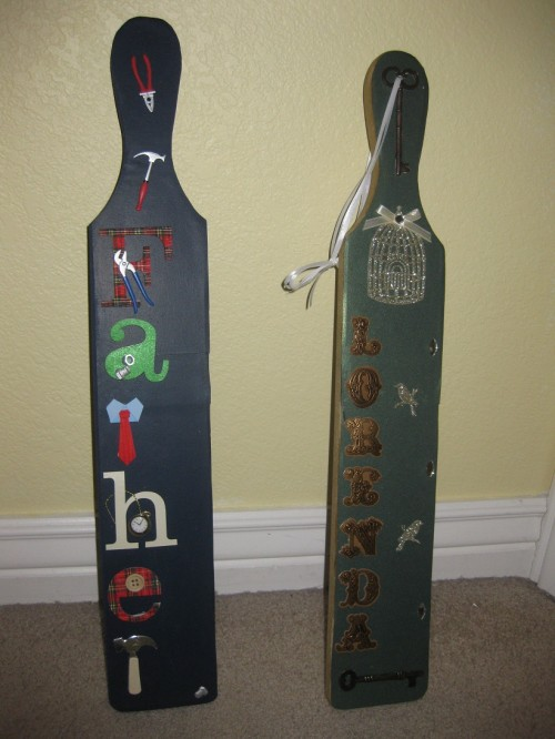 Giving my formerly Greek parents paddles to celebrate my first Greek Christmas. TSM.
