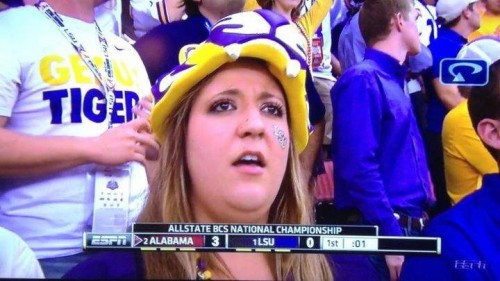 And at this point it was only 3-0. Bless her heart, and Roll Tide! TSM.