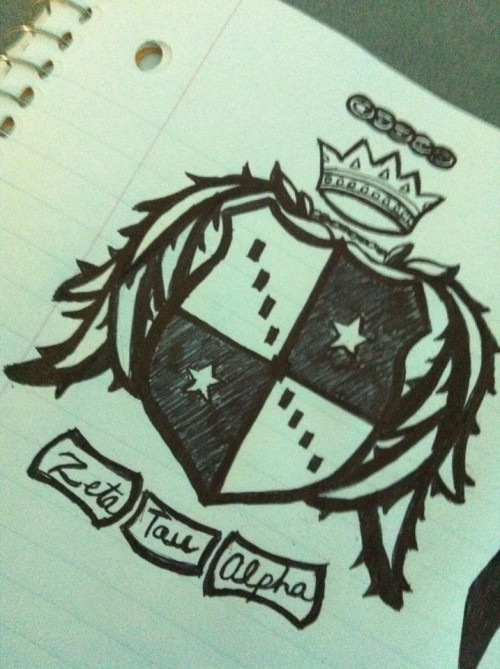 I don't doodle flowers and hearts in class, I doodle my chapter's crest. TSM.