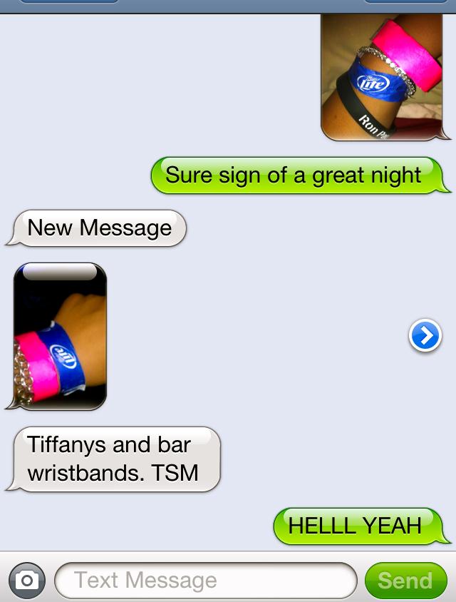 Tiffany's and bar wristbands. TSM.