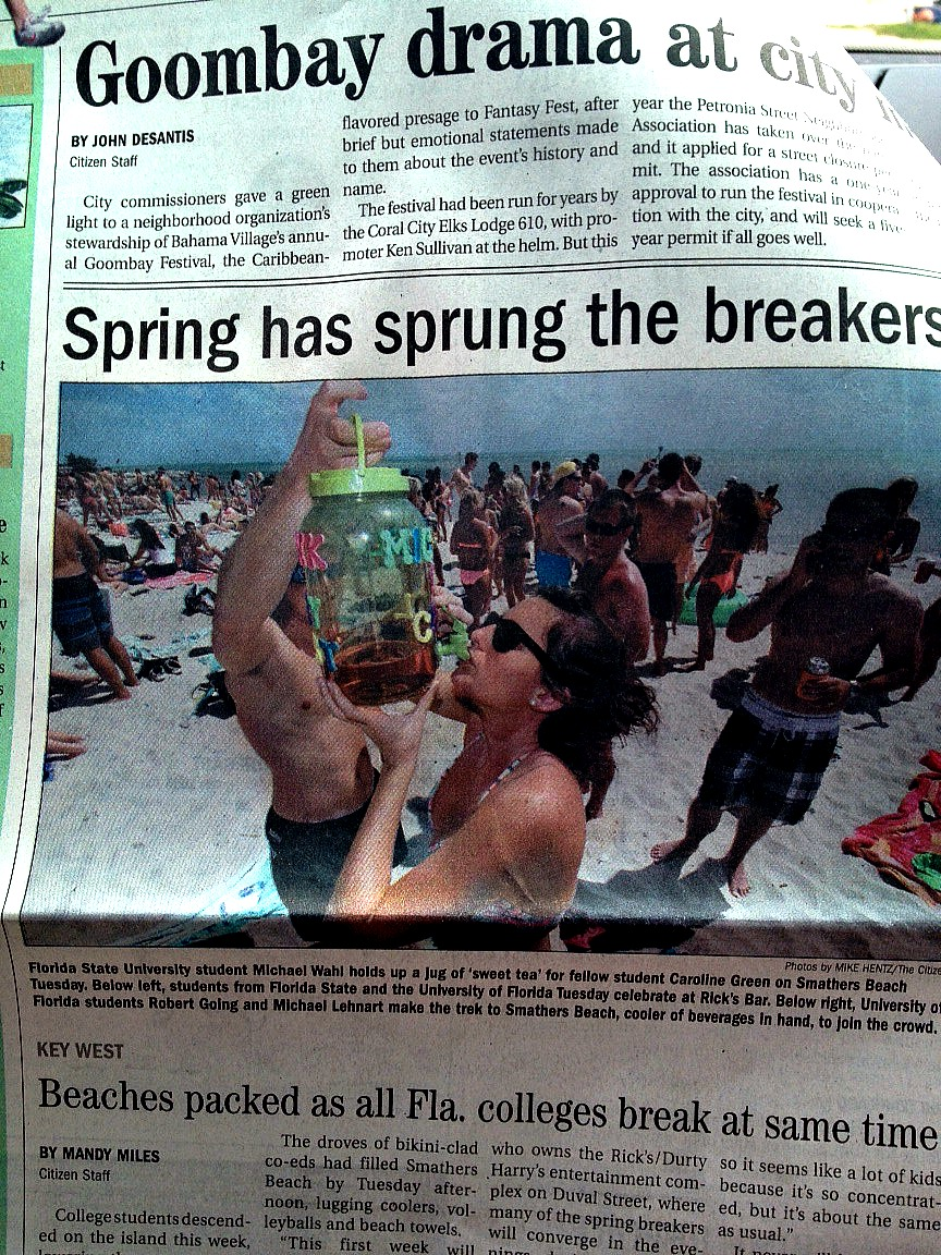 Front page status at Key West. TSM.