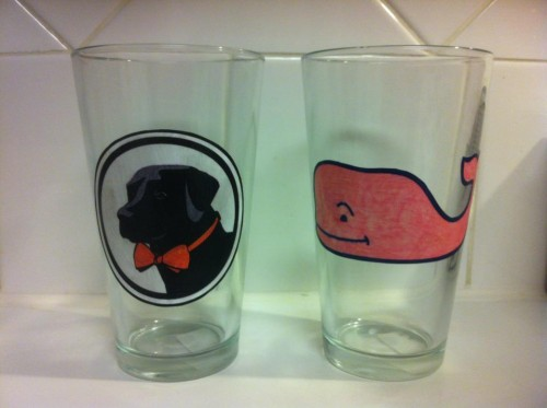 Southern Proper and Vineyard Vines pint glasses I crafted for my frat daddy.