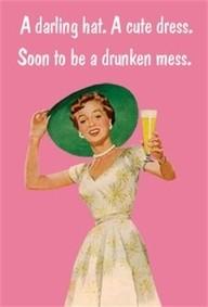 A darling hat. A cute dress. Soon to be a drunken mess. TSM.