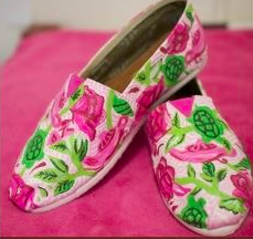 Hand-painted TOMS with our Lilly print. TSM.