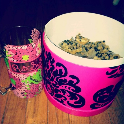 Hand-painted Lilly stein and home baked goods. My Little is perfect. TSM.