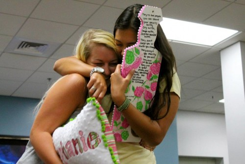 Casual Big/Little embrace at Pillow Paddle. TSM.
