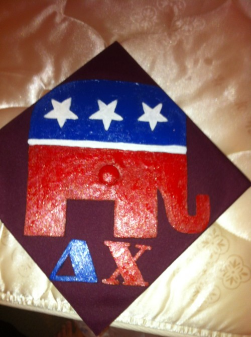 Crafting my fratdaddy's graduation cap with his two favorite things! TSM.