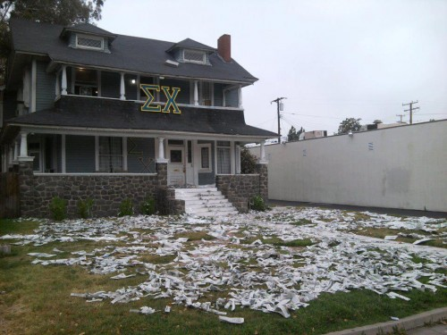 They toilet papered our front lawn. We retaliated with 250 school newspapers and half a gallon of glitter. TSM.