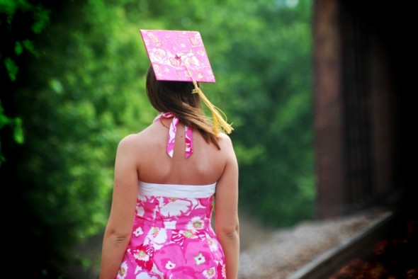 Lilly dress and matching graduation cap. TSM.