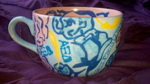 Homemade ceramic Lilly print mug. TSM.
