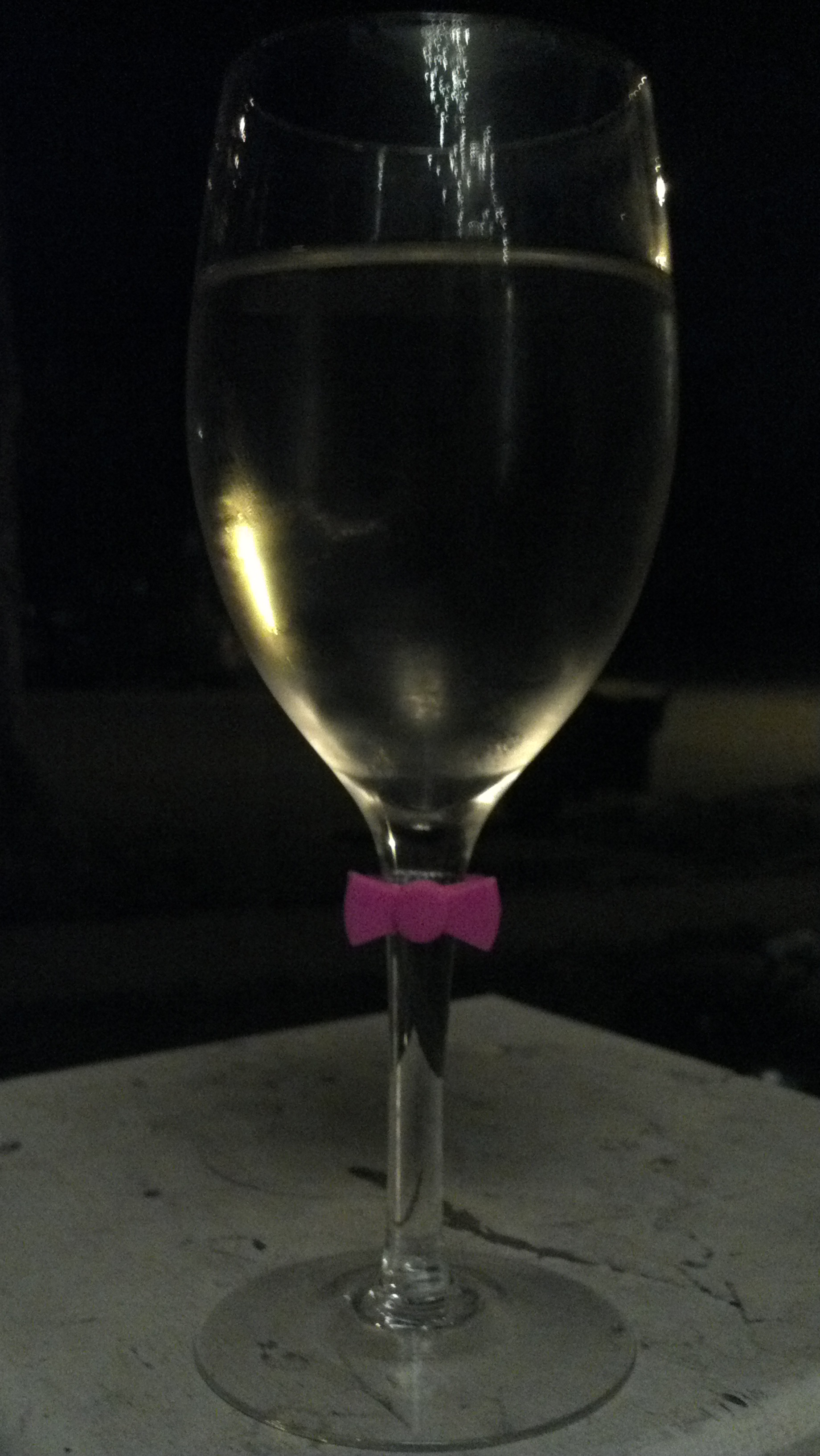Even my wineglass has a bow on it. TSM.