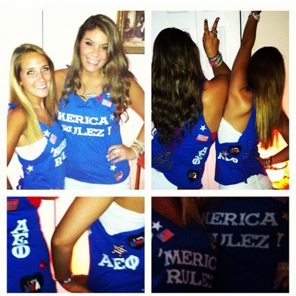 Making matching tanks with your sisters to show your 'Merican pride. TSM.
