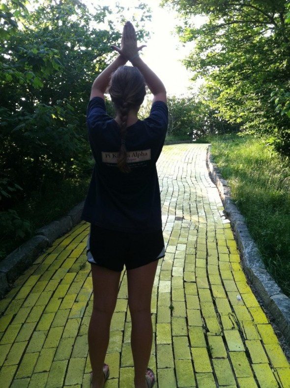 Throwing Ivy on the yellow brick road. TSM.