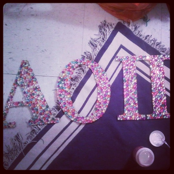 An entire tub of rhinestones and 12 hours later. TSM.