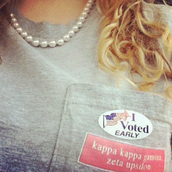 Just doing my civic duty in pearls and curls. TSM.