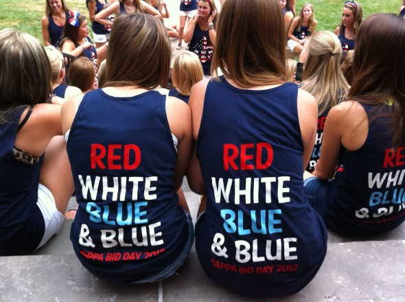 Kappa America-themed Bid Day tanks. TSM.