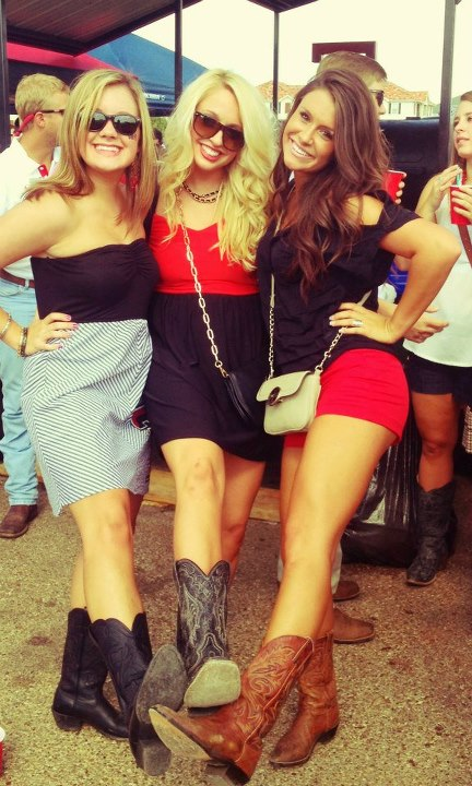It wouldn't be Texas Tech tailgating without cowboy boots. TSM.