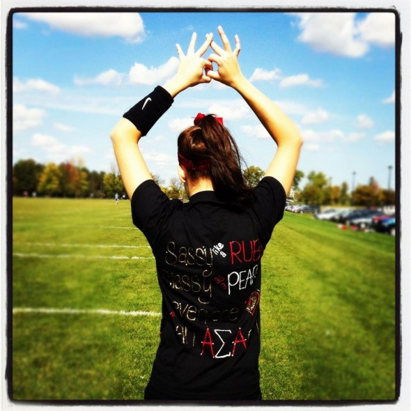 Representing your sorority in the homecoming powderpuff game. TSM.