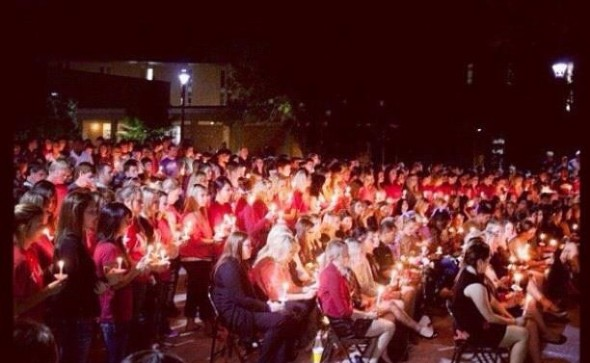 Our chapter lost a sister. Less than 12 hours later the entire Greek community and our campus came together for a candlelit vigil in her memory. Every Greek wore our colors. Individually unique, together complete. TSM.