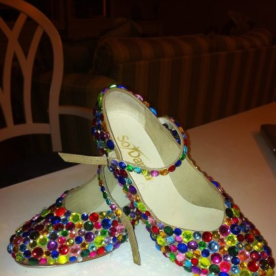 Bedazzling my tap shoes so my dancers won't miss a move I make. TSM.