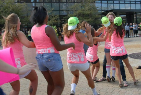 Running back to my sisters after being Rho Gamma was one of the best moments of my sorority life. TSM.