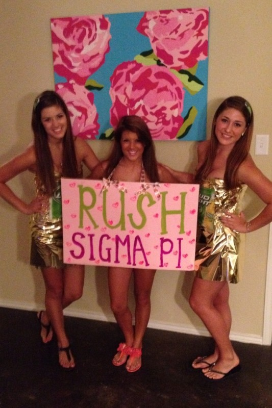 Crafting the best outfit's for the ABC Rush Party.  TSM.