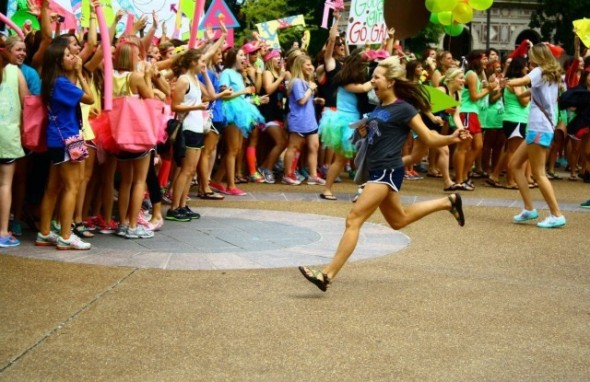 Running to my new family on bid day! TSM.