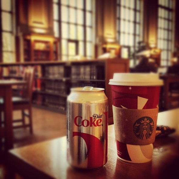 No library trip is complete without the appropriate caffeinated beverages. TSM.