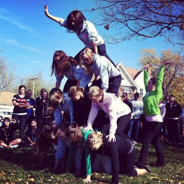 Sororities teach you the important things in life...like how to make a pyramid in under 10 seconds! TSM.