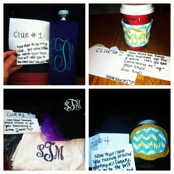 Monogrammed gifts and a scavenger hunt for Big Appreciation Day! TSM.