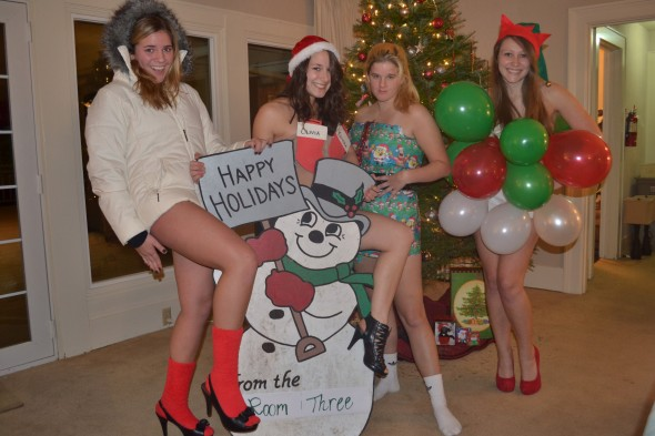 Instead of studying for finals we made a Christmas card. TSM.