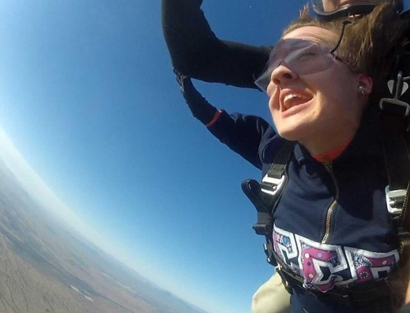 Going skydiving in my letters. TSM.