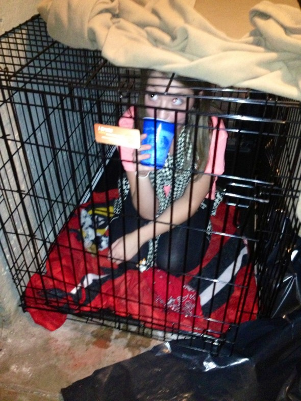 When your sister is so out of control that you have to lock her in a cage. TSM.