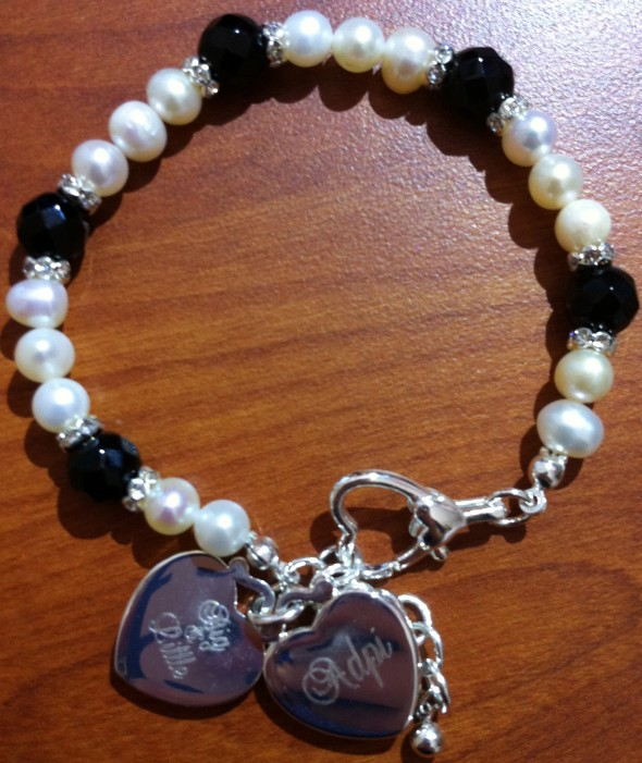 "The engraved ""Big and Little"" pearl bracelet that my Little gave me for Christmas. TSM."