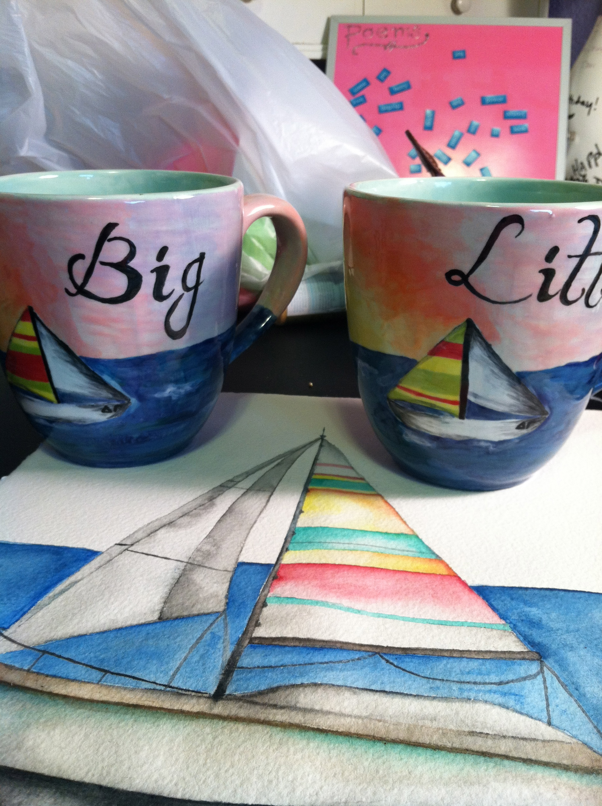 Matching nautical Big/Little mugs for all of our coffee dates. TSM.