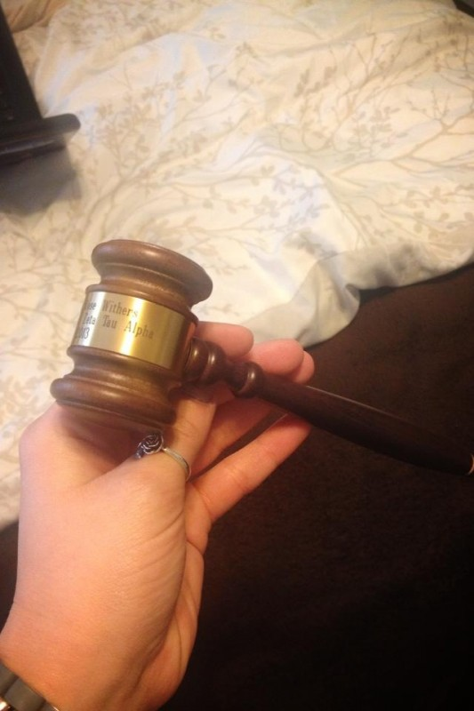 Personalized gavel for my big/the president of our chapter. TSM.