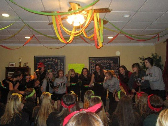 Doing the pledge class song for the new babies. TSM.
