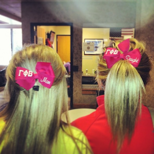Matching bows on your first day of classes with your daughter. TSM.