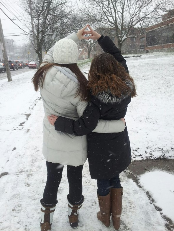 Pausing in the snow to throw what we know. TSM.