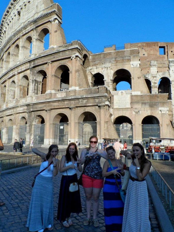 Study abroad-ers throwing what we know in Rome. TSM.